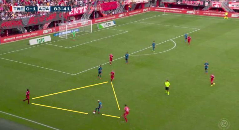 Ook omringd door drie Twentespelers op de eigen helft houdt Antony vertrouwen in zijn eigen dribbelkunsten. Beeld Screenshot ESPN