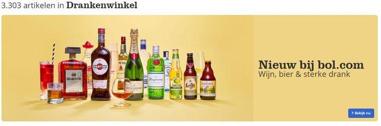 Wie naar de site van bol.com surft, kan sinds vandaag ook meer dan 3.000 alcoholische drankjes thuis laten leveren. Van speciaalbieren, tot magnumflessen champagne en een Chateau Petrus uit 2009. Beeld RV