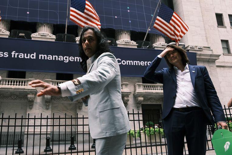 Baiju Bhatt (links) en Vlad Tenev, oprichters van Robinhood, verkochten beide voor ongeveer 50 miljoen dollar aan aandelen. Beeld Getty Images