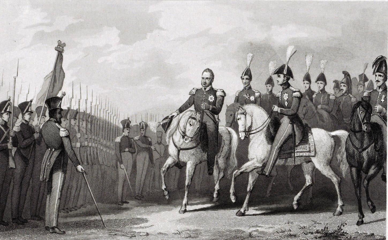 Koning Willem I bezoekt het legerkamp bij Rijen, 1831, Johannes Philippus Lange, 1843 - 1845. De plaats waar de tent van de koning heeft gestaan, is nog steeds te vinden.