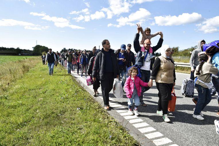 Een grote groep vluchtelingen uit Syrië loopt over een snelweg in Denemarken in 2015. Beeld Reuters