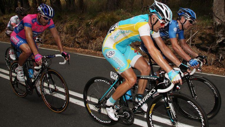 Borut Bozic in het lichtblauwe tenue van Astana. Beeld epa