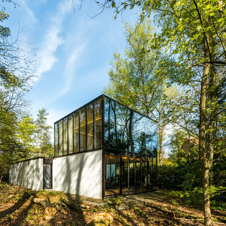 De seventiesvilla van de brutalistische architect Gerard Cools ligt heerlijk verborgen in het groen. Door de grote ramen stroomt het licht op elk moment van de dag naar binnen. Dankzij de bomen wordt het nooit te warm in de zomer. Beeld Luc Roymans
