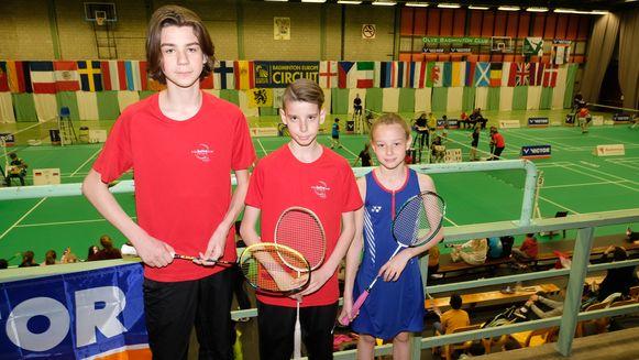 Lars (13), Viktor (12) en Merel (10) behoren tot de beste Belgische badmintonners van hun leeftijdscategorie.