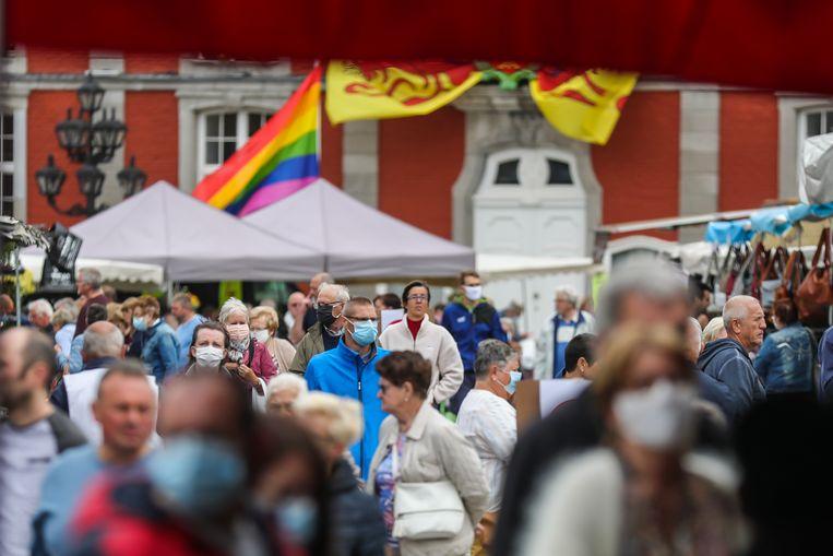 Zaterdag heropende de markt in Sint-Truiden. Beeld Borgerhoff