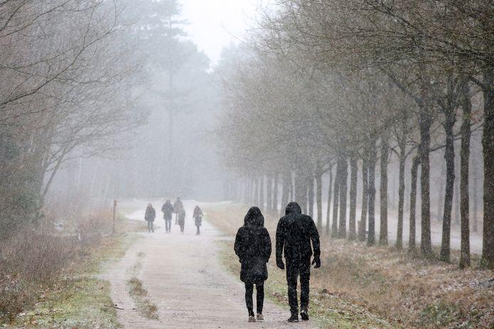 Wandelaars in het Mastbos trosteren zaterdagmiddag de eerste sneeuwvlokken.