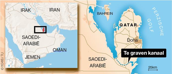 Saoedi-Arabie dreigt Qatar in eiland te veranderen