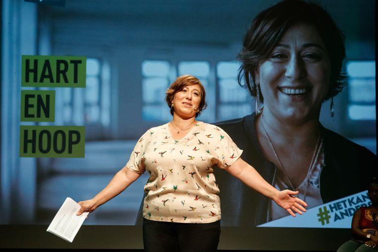 Meyrem Almaci is momenteel voorzitster van Groen, straks maakt ze bekend of ze kandidaat is om zichzelf op te volgen. Beeld BELGA