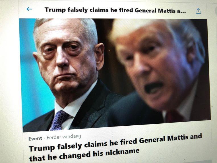 Twitter publiceerde een Event, waarin het wijst op de leugens van Trump en de feiten op een rijtje zet. Beeld AFP