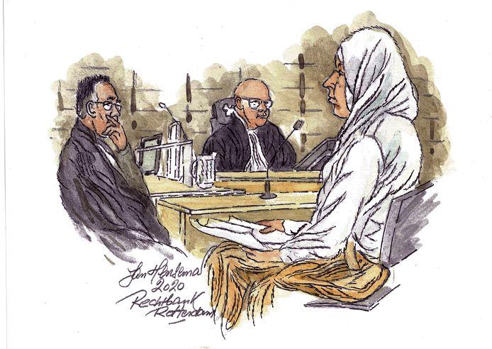 Een tekening van een eerdere zitting van Fatima H. uit Tilburg.