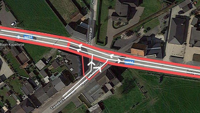 De verkeerssituatie ter hoogte van de Langestraat.