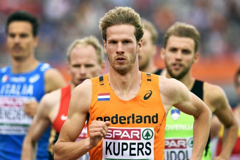 Thijmen Kupers in actie tijdens de halve finale 800 meter op het EK Atletiek in het Olympisch Stadion in juli 2016 Beeld anp