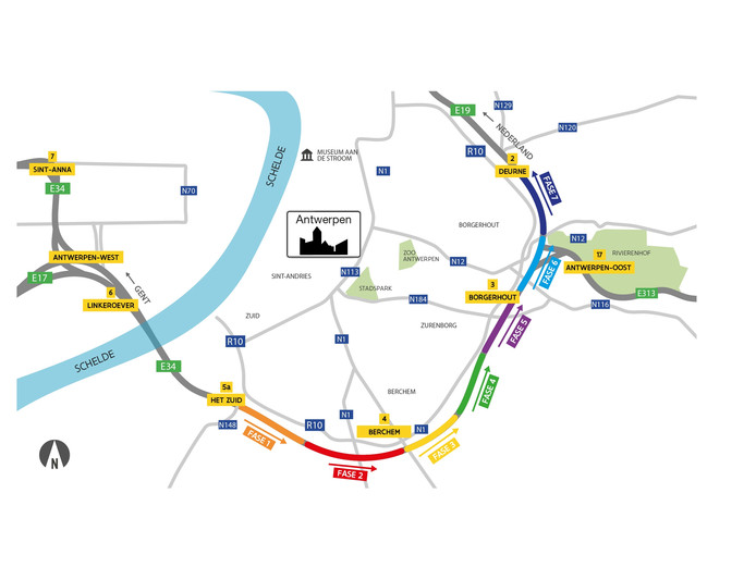 Werk aan de Antwerpse Ring vanaf 5 september.