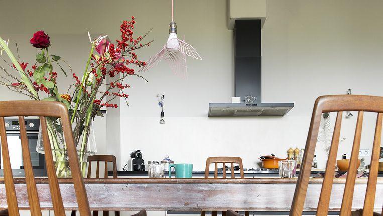 Carolien: 'In een woonwinkel zag ik dit fragiele vogeltje, het is een vredesduif. Nu is het kale peertje ineens een mooie lamp.' Beeld Jansje Klazinga