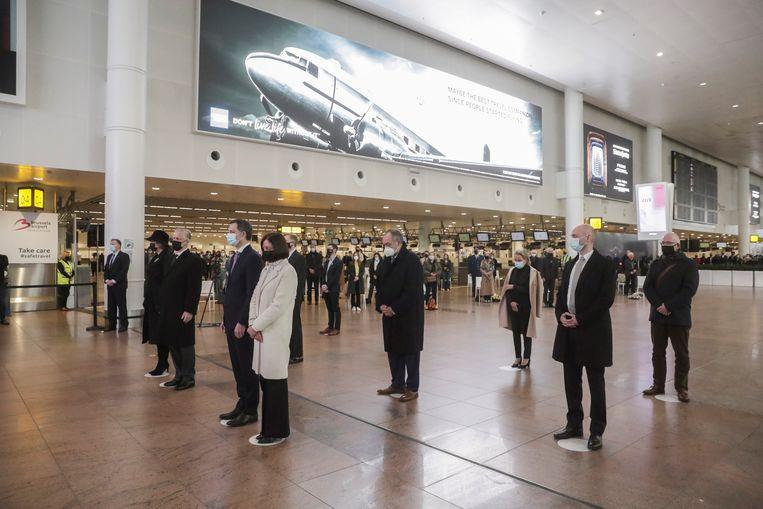De herdenkingsceremonie op luchthaven Zaventem. Beeld REUTERS