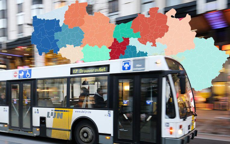 De Lijn wordt binnenkort onderverdeeld in vijftien vervoerregio's. Beeld Photo News/Datawrapper