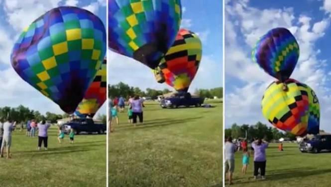 Hevige windvlaag werpt piloot uit luchtballon, die er alleen vandoor gaat met passagiers