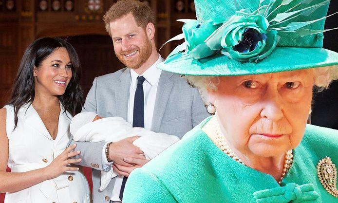 Meghan Markle et le prince Harry à gauche, la reine d'Angleterre à droite.