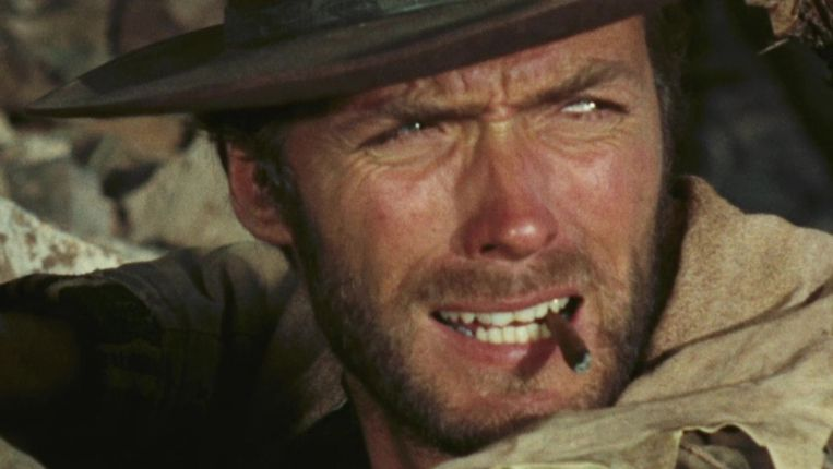 Clint Eastwood in The Good, the Bad and the Ugly van Sergio Leone Beeld x