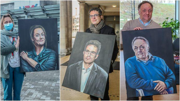 Virologen Erika Vlieghe, Steven Van Gucht en Marc Van Ranst met hun portretten, geschilderd door HLN-lezer Noël Verfaillie op basis van foto's die in deze krant verschenen zijn.
