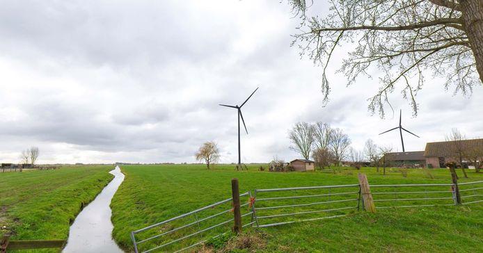 Een impressie van windmolens zoals die in Reijerscop zouden kunnen komen