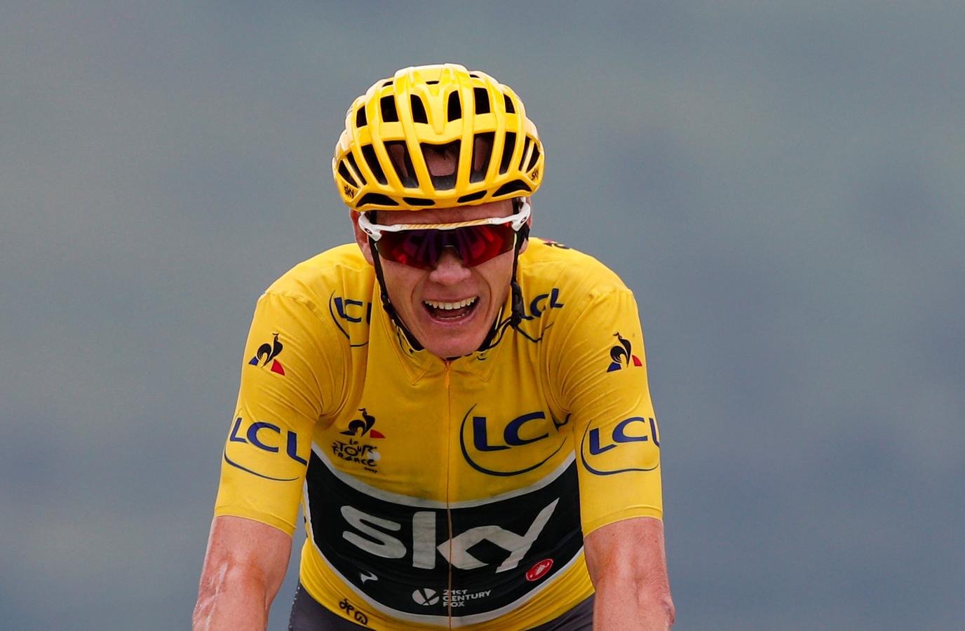 Froome in de gele trui in de Tour van 2017.