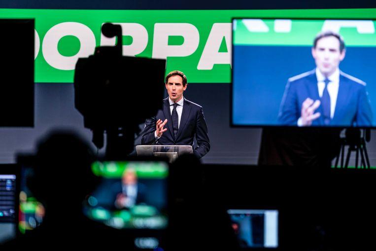 CDA-lijsttrekker Wopke Hoekstra dinsdag tijdens het digitale congres van zijn partij. Beeld ANP