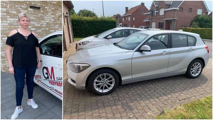 Melissa Jaumain uit Zwevegem en haar gestolen BMW 114.