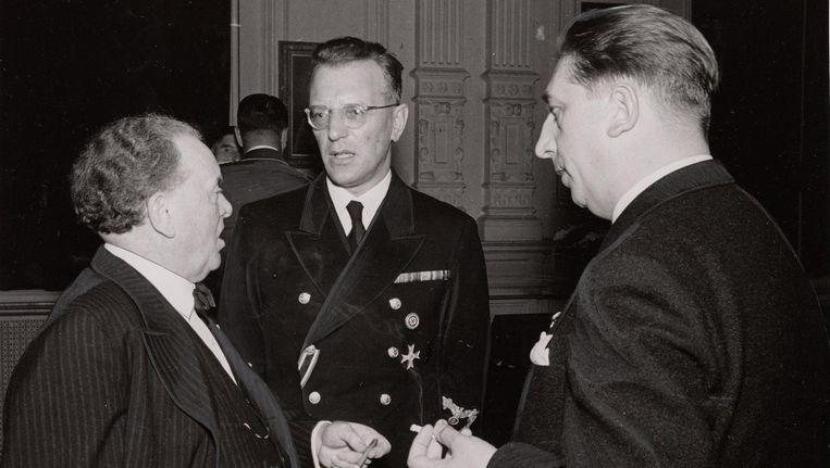 Willem Mengelberg (links) in het Concertgebouw, oktober 1940, met in het midden Rijkscommissaris Arthur Seyss-Inquart, de man die namens de Duitsers Nederland bestuurde Beeld Stadsarchief