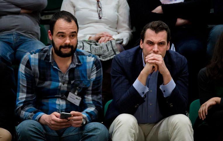 Bart Nijman en Thierry Baudet tijdens het Tweede Kamerdebat over de uitslag van het raadgevend referendum over het associatieverdrag tussen de Europese Unie en Oekraïne. Beeld anp