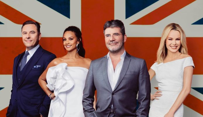 In beeld van links naar rechts: David Walliams, Alesha Dixon, Simon Cowell and Amanda Holden.