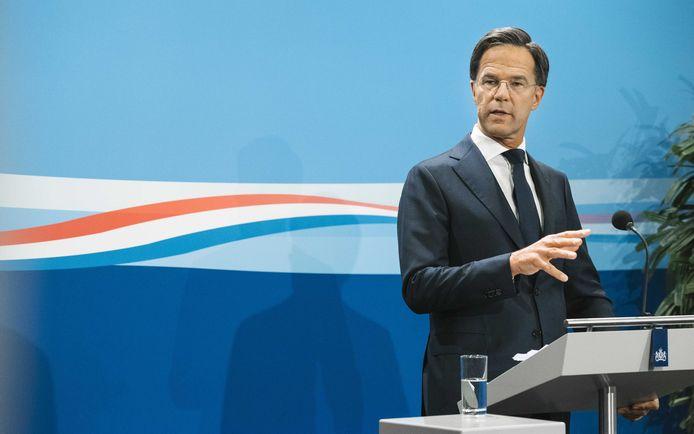Rutte eerder vandaag tijdens een persconferentie na afloop van de Nederlandse ministerraad.