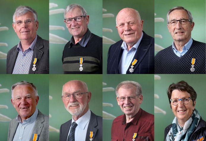 Gedecoreerden van Druten, met de klok mee Hilband Meesters, Joop Jacobs, Kobus van Dinteren, Roel Koedam, Gerda Pruijn-Verkuil, Willy Beck, Theo Verhoeven, Theo Sijbers.