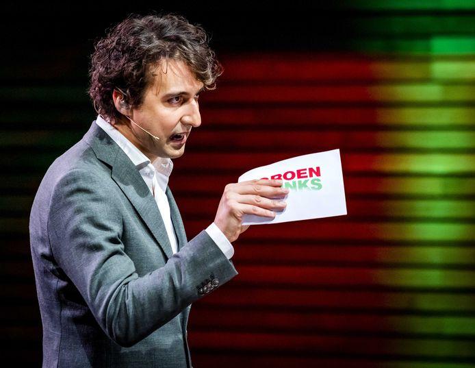 GroenLinks-leider Jesse Klaver bij de presentatie van het verkiezingsprogramma van GroenLinks vorige maand.