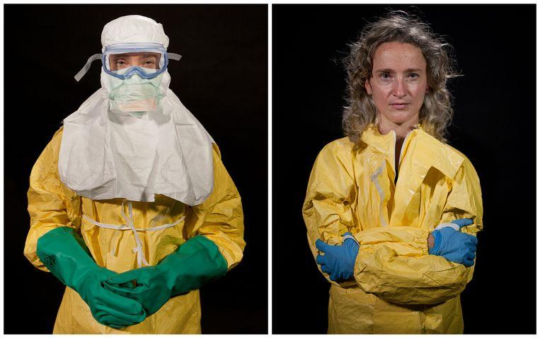 Hilde De Clerck, met en zonder masker dat haar tegen ebola moet beschermen Beeld Peter Casaer/AZG