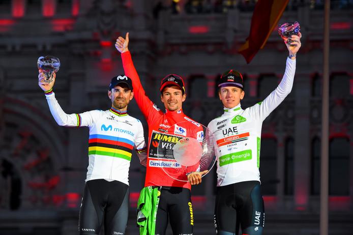 Primoz Roglic (Jumbo - Visma), Alejandro Valverde (Movistar Team) et Tadej Pogacar (Team Emirates).