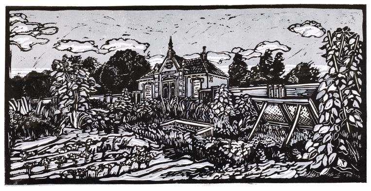 Deze lino van Peter Kooij toont het Metaheirhuisje en een muur van de begraafplaats, gezien vanuit de volkstuinen. Beeld S. Veldema