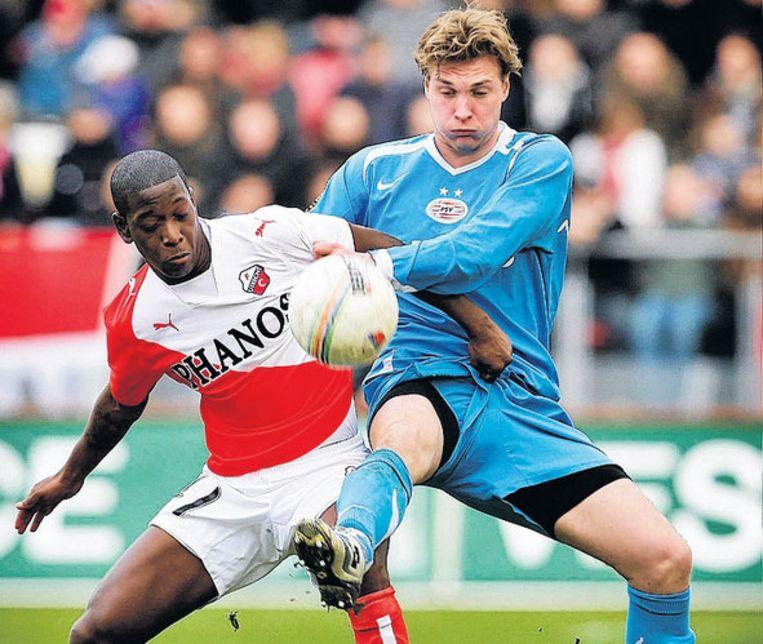 Leroy George (links): 'Ik ga zondag geen rekening houden met Ajax'. Foto ANP Beeld