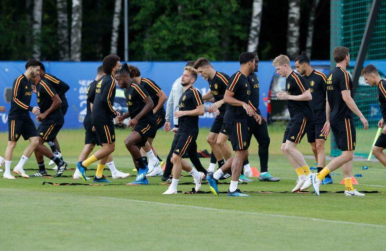 De Rode Duivels trainen in Dedovsk, in de aanloop naar de match tegen Brazilië. Beeld Photo News