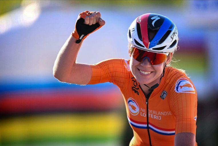 Anna van der Breggen kroonde zich eind september tot wereldkampioene op de weg in het Italiaanse Imola. Beeld Photo News