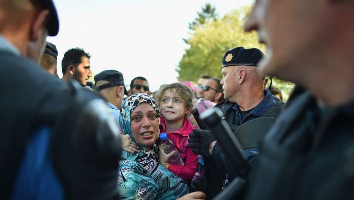 Vluchtelingen bij de Kroatische grens