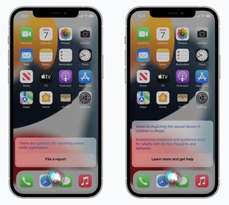 Apple gaat zijn gebruikers waarschuwen als ze zoeken naar illegaal materiaal. Beeld Apple