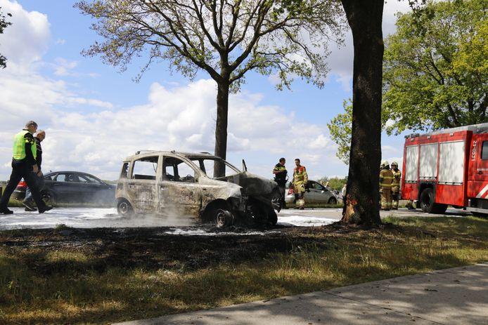 De auto vloog in brand nadat het tegen een boom tot stilstand was gekomen.