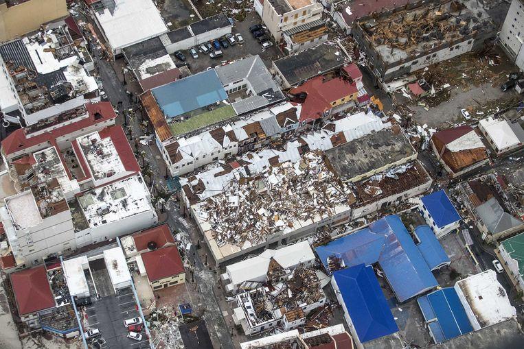 2017-09-06 22:28:17 PHILIPSBURG - Luchtfotografie van de schade op Sint-Maarten van orkaan Irma. De NH90 helikopter van Zr. Ms. Zeeland een eerste verkenningsvlucht gevlogen over de eilanden Saba, Sint Eustatius en Sint Maarten. ANP HANDOUTS MINISTERIE VAN DEFENSIE / GERBEN VAN ES **NO ARCHIVE, NO SALE, EDITORIAL USE ONLY** Beeld ANP Handouts