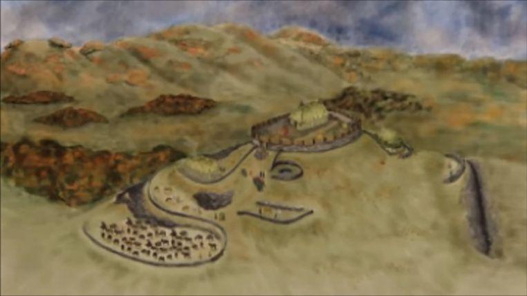 Reconstructietekening van de stad die een belangrijke plaats geweest zou zijn in het koninkrijk Rheged.  Beeld YouTube
