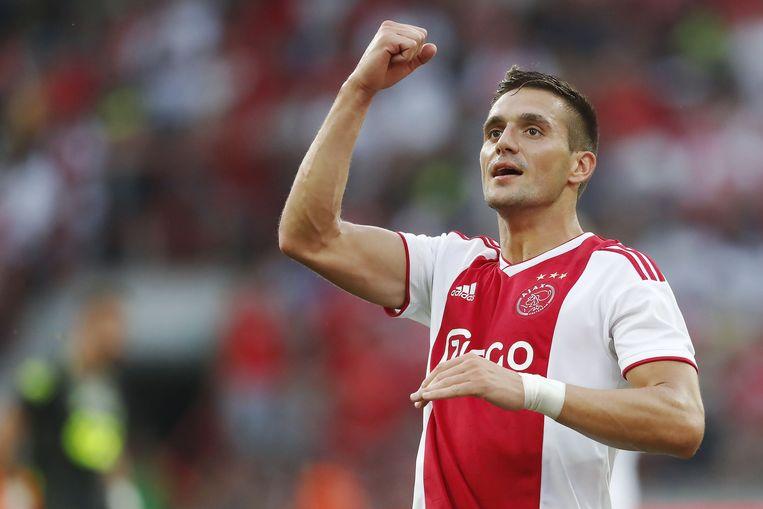 Tadic tijdens de wedstrijd Standard v Ajax in de voorrondes van de Champions League. De Servische international blonk meteen uit met een goal en een assist tegen de Rouches.