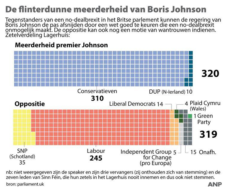Een overzicht van de flinterdunne meerderheid van regering Boris Johnson in het Lagerhuis.  Beeld ANP Graphics