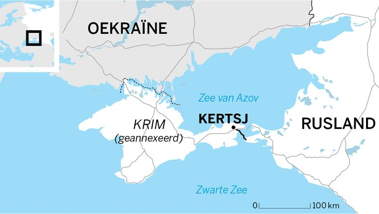 Kaart van het gebied en de Straat van Kertsj.  Beeld de Volkskrant