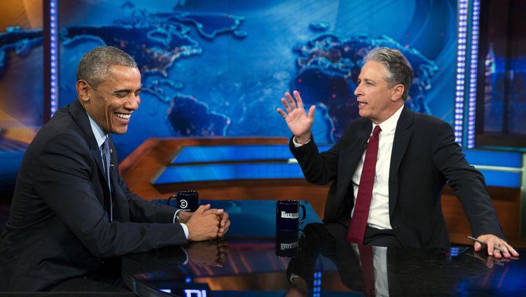 President Obama was vorige maand nog te gast in The Daily Show. Beeld © AP
