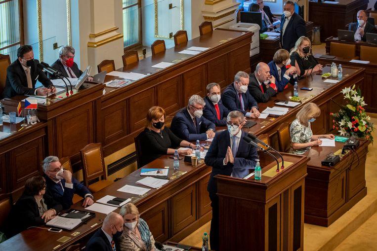 De Tsjechische premier Andrej Babis, vorige week. Op 3 juni overleefde Babis een motie van wantrouwen van de oppositie.  Beeld EPA